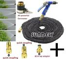 100FT/200FT EXPANDABLE FLEXIBLE GARDEN HOSE PIPE 3x EXPANDING WITH SPRAY GUN NEW