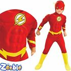 Boys The Flash Costume Superhero Fancy Dress Muscle Chest Kids Age 4-12 Years