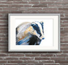 Badger Watercolour PRINT of original painting signed by artist cute blue yellow