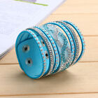 Womens Men Multilayer Crystal Leather Bracelet Cuff Bangle Charm Jrewelry Party