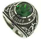 Sheriff Department Emereld Green Stone Silver Stainless Steel Mens Ring