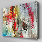 AB972 Modern mosaic red silver Canvas Wall Art Abstract Picture Large Print