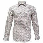 TR Premium Mens Slim Fit Button Down Square Pattern Fashion Shirt TR-692 White