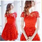 Summer Women Short Sleeve Floral Lace Evening Party Cocktail Short Mini Dress