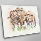 A602 Three Brown Cows Abstract Sketch Canvas Wall Art Animal Picture Large Print