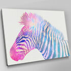 A633 Blue Pink Zebra Watermark Sketch Canvas Wall Art Animal Picture Large Print