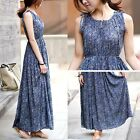 HOT Bohemian Style Women Floral Print Round Neck Sexy Sleeveless Long Dress - CB