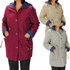 Water Repellent Contrast Trim Hooded Coat  Womens Size