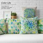 Cotton/Linen Cushion Cover Shell Throw Pillow Case spring green geometry 1 pc