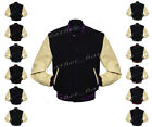 Faux Leather Sleeve Letterman College Varsity Women Wool Jack #CRS-CLRS-BB-FL