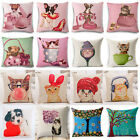 Cartoon Chubby Cat & Dog Cotton Linen Pillow Cover Sofa Cushion Cover Home Decor