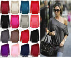 Ladies Women's Plain Off Shoulder Long Sleeve Batwing Stretchy Top Plus 8 - 18