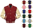 Genuine Leather Sleeve Letterman College Varsity Women Wool Jack #CRS-CRS-CRB-LE
