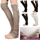 Women Crochet Lace Trim Twist Button Down Braid Leg Warm Knit Knee Socks - CB
