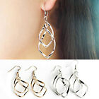1Pair Gold or Silver Plated Fashion Lady Dangle Ear Stud Hoop Earrings Jewelry