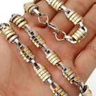 """Men's Silver Gold Stainless Steel Handmade Chain Necklace7""""-40""""Bracelet Fashion"""