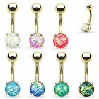 Opal Glitter Prong Set Gold Plated Over Surgical Steel Belly Bar Navel Rings