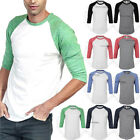 Mens 3/4 Sleeve Raglan T Shirt Baseball Plain Casual Slim Fit Tri Blend Crew Tee image