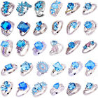 Women Jewelry Blue Topaz Gemstone Silver Plated Finger Ring Gift Size 6-13 New