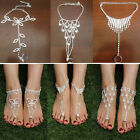 Bridal Crystal Barefoot Sandals Jewelry Ankle Bracelet Toe Ring Beach Foot Chain