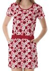 Red Pink Roses Pattern Women's Clothing Top Dress With Pockets