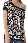 Black White Skull Pattern Women's Clothing Top T-Shirts One Off Shoulder