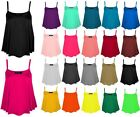 New Womens Plain Swing Vest Top Plus Size Sleeveless Top Strap Cami Flared 8-24