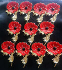 5/10/50 Bulk Lots Red Flower Poppy Brooch Crystal Diamante Pin Badge Remembrance