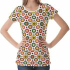 White Floral Patterns Womens Ladies Short Sleeve Top Shirt Blouse