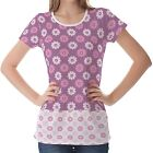 Purple Floral Pattern Womens Ladies Short Sleeve Top Shirt Blouse
