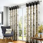 Fusion IDAHO Charcoal Feather Motif 100% Cotton  Eyelet Lined Curtains