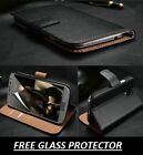Luxury Genuine Real Leather Wallet Flip Case Cover For Samsung Galaxy All Models