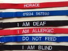"""Embroidered large DOG COLLAR 13""""to22"""" Blue,  various wording inc P&P"""