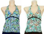 Fit 4 U Hips Whimsical Paisl Halter Skirtini Swim TOP ONLY~A220901