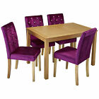 Oak Dining Table and Chair Set with 4 Velvet Fabric Seats | Black Purple Silver