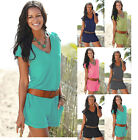 Womens Summer Beach Sexy Deep V Loose Casual One Piece Short Jumpsuits Romper