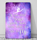 Gymnastic If you don't leap quote sign A4 metal plaque girls bedroom wall art