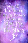 Gymnastic jump off the beam inspirational quote girls bedroom wall art poster