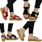 WOMENS LADIES LOW HEEL FLAT TASSLE BUCKLE SLINGBACK VELCRO SHOES SANDALS SIZE