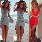 2016 Women Summer Boho Long Maxi Evening Party Beach Sundress 2Colors S-XL AU
