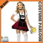 Womens Maroon Beer Maid Oktoberfest Wench Ladies Dirndl Fancy Dress Costume