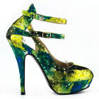 Multicolored Night Sky Mary Jane Cut Out Stiletto Party Pump Size 4/5/6/7/8/9/10