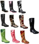 NEW WOMENS LADIES CALF ADJUSTABLE RAIN FESTIVAL RUBBER WELLIES WELLINGTON BOOTS