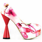 Blue/Red/Black/White Floral Platform Cone Heels Party Pumps Size 4/5/6/7/8/9/10