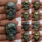 36-38mm Carved natural stone labradorite skull cab cabochon *each one picture*