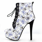 Sexy Blue Skull Floral Black Lace Up Gothic Club Ankle Boots Size 4/5/6/7/8/9/10