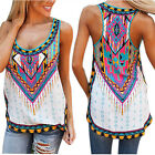 Ladies Sleeveless Casual National Wind Printing Vest Tee Shirt Tops Blouse Tank