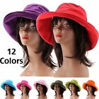 New Foldable Women's Cotton Floppy Summer Hat Wide Brim Crushable Bucket Sun Hat