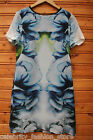 Karen Millen Blue Smokey Mirror Silk Mini Shirt Casual Shift Tunic Dress 10 - 14
