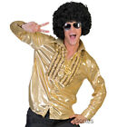 CL890 Gold Shirt 70s Saturday Night Fever Groovy Disco Mens Costume Travolta